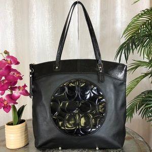 Coach Laura Signature Leather Black Tote F18336